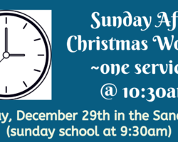 Sunday after Christmas (One Service)
